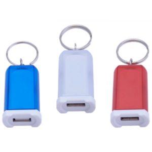 Llavero y cargador universal USB para auto de un solo puerto